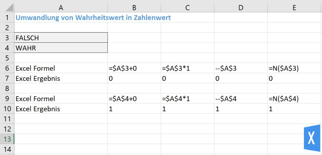 Excel Insights - Excel Bedingungen: Rückgabewerte WAHR und FALSCH in Zahlenwert umwandeln